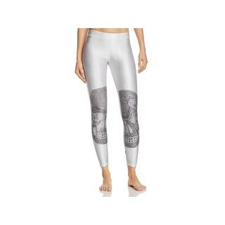Terez Womens Crystal Skull Athletic Leggings Printed Stretch