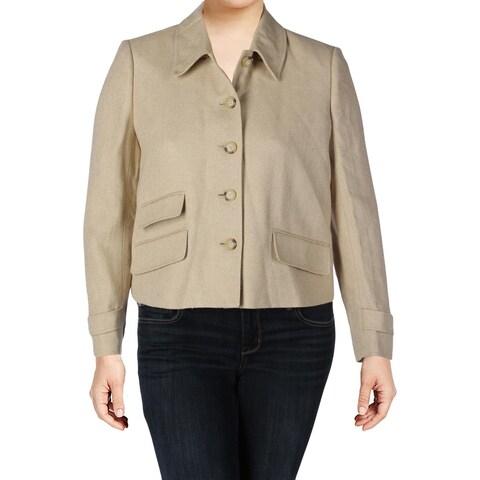 Lauren Ralph Lauren Womens Four-Button Blazer Silk Blend Herringbone