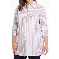 Foxcroft Striped Women's Plus Button Down Shirt