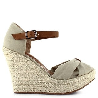 Ceresnia Adult Sand Ankle Strap Closure Wedge Trendy Sandals