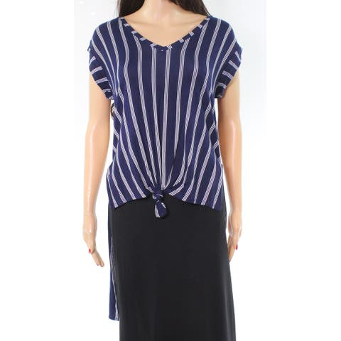 Love Fire Blue Womens Size Small S V-Neck Striped Tunic Knit Top