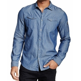 CALVIN KLEIN JEANS NEW Solid Blue Chambray Mens XL Button Down Shirt