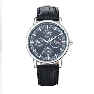 Faux Black Leather Classic Silver Tone Watch - Brown
