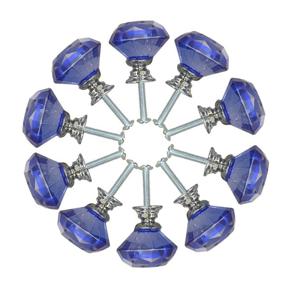 Blue Glass Cabinet Knobs 30mm Mushroom 10 pcs | Renovator's Supply