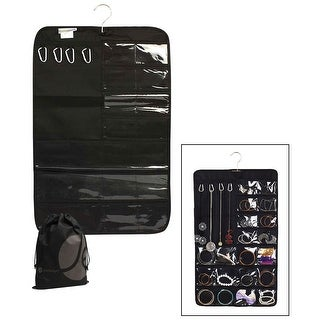 JAVOedge Black Jewelry, Earring, Bracelet, and Necklace Storage Divided Closet Storage Mat with Over the Door Hanger