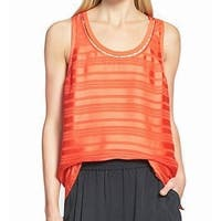 Trouve Women's Medium Scoop-Neck Striped Tank Blouse