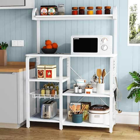 Kitchen Baker's Rack Microwave Oven Stand, Kitchen Cart Utility with Storage Shelf