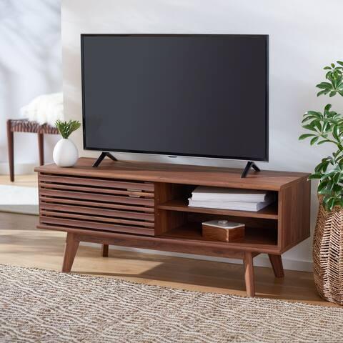 "Safavieh Aurelio Walnut 47-inch Storage Media TV Stand - 46.5"" W x 15.2"" L x 18.6"" H"