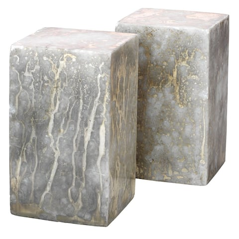 """Set of 2 White Slab Rectangle Bookends in Silver and Gold Finish 5.50"""""""