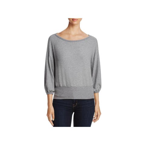 Three Dots Womens Crop Sweater Wide Neck Three-Quarter Sleeves