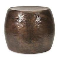 """20.5"""" Marian Short Hammered Two-Tone Brown Aluminum Accent Footstool Table"""