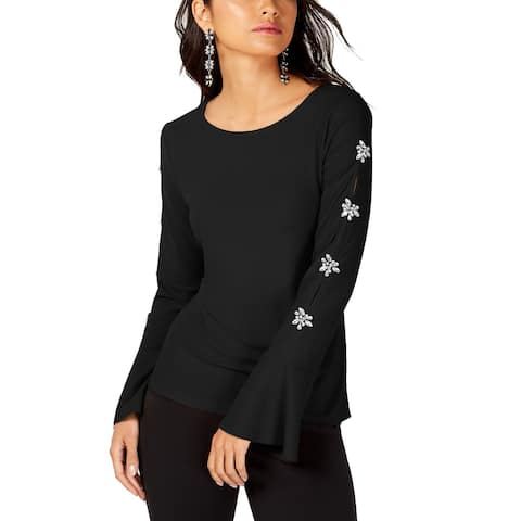INC International Concepts Women's Embellished-Sleeve Top (Black, L)