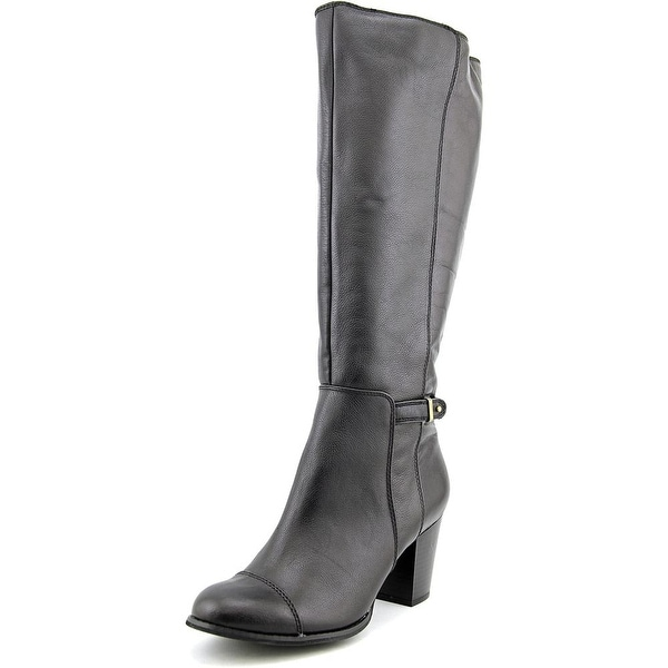 Giani Bernini Ellee Wide Calf Women Round Toe Leather Black Knee High Boot