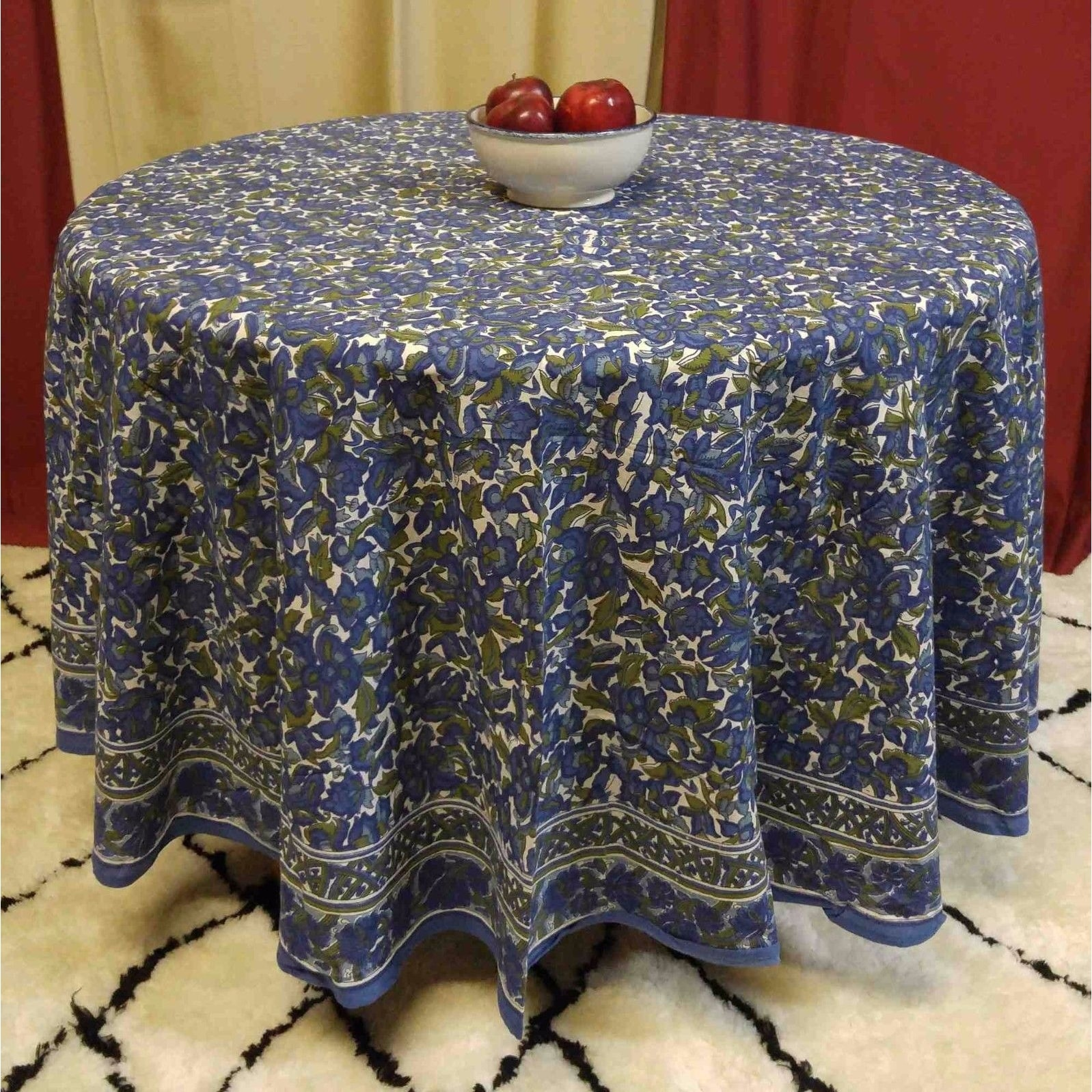 "Handmade 100% Cotton Floral Tablecloth 90"" Round Blue Olive Green - Thumbnail 0"