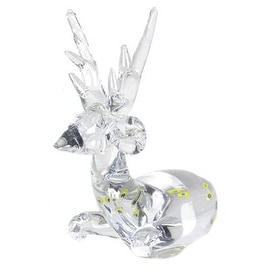 "CYS® Glass Reindeer, Clear Multi Color. H-6.5"" (Pack of 12 pcs)"
