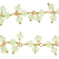 Green Chalcedony Gemstone Drops Gold Vermeil Wire Wrapped Chain 4mm Rondelles - By The Inch