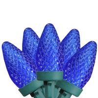 """Set of 50 Faceted Blue LED C7 Christmas Lights 5"""" Spacing - Green Wire"""