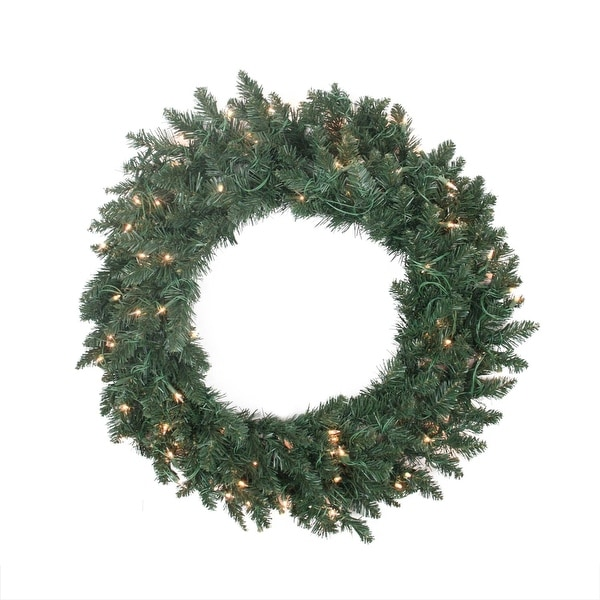 "30"" Pre-lit Traditional Pine Artificial Christmas Wreath - Clear Lights - green"