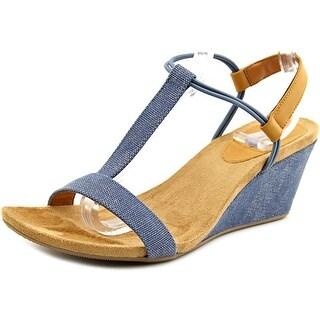 Style & Co Mulan Women Open Toe Canvas Blue Wedge Sandal