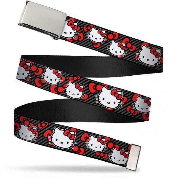 Blank Chrome Bo Buckle Hello Kitty Multi Face W Diagonal Stripes Bows Web Belt
