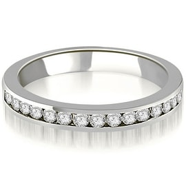 0.50 cttw. 14K White Gold Round Diamond Classic Channel Wedding Band