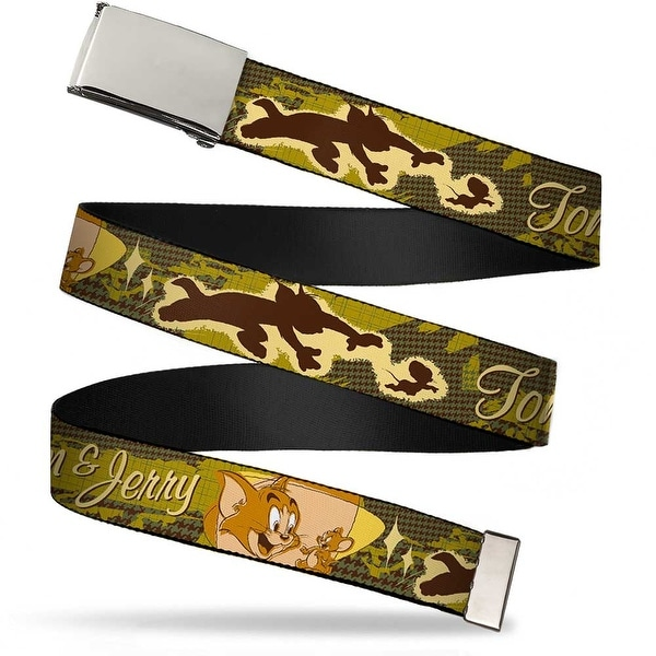 Blank Chrome Buckle Tom & Jerry Tom Chasing Jerry Houndstooth Browns Web Belt