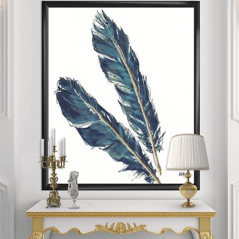 Designart 'Gold Indigo Feathers III' Modern Bohemian Framed Art Print