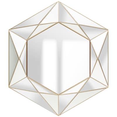 "22"" Modern Geometric Round Wall Mount Accent Mirror"
