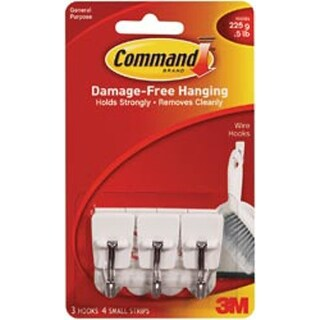 White 3 Hooks & 4 Strips - Command Small Wire Hooks