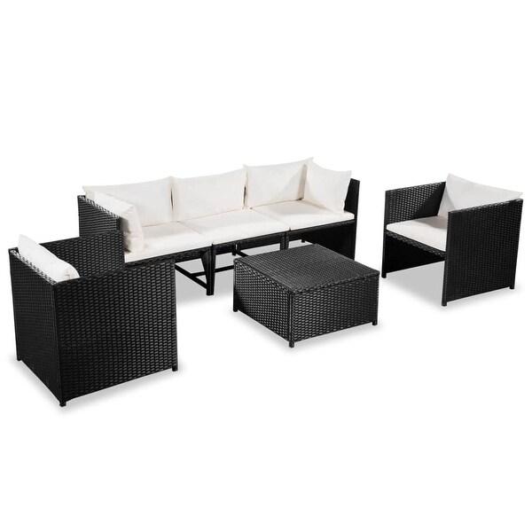 "vidaXL 6 Piece Garden Lounge Set with Cushions Poly Rattan Black - 23.6"" x 23.6"" x 23.6"""