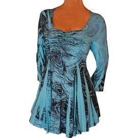 Funfash Plus Size Aqua Blue Top Rhinestones Slimming Womens Blouse Shirt