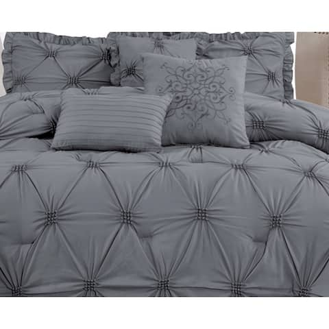 Premium Microfiber Down Alternative Quilted 7 Piece Comforter Set