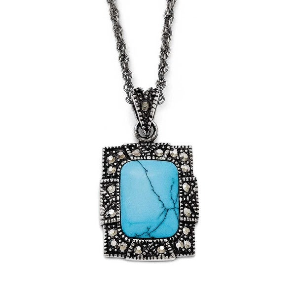 Chisel Stainless Steel Simulated Turquoise/ Marcasite Antiqued Necklace (2 mm) - 18 in