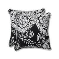 Set of 2 White Paisley Swirl and Black Square Throw Pillows 18.5""