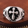 Vienna Jewelry Mini Cross Stainless Steel Ring - Thumbnail 2
