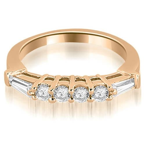 0.50 cttw. 14K Rose Gold Baguette and Round Diamond Wedding Band