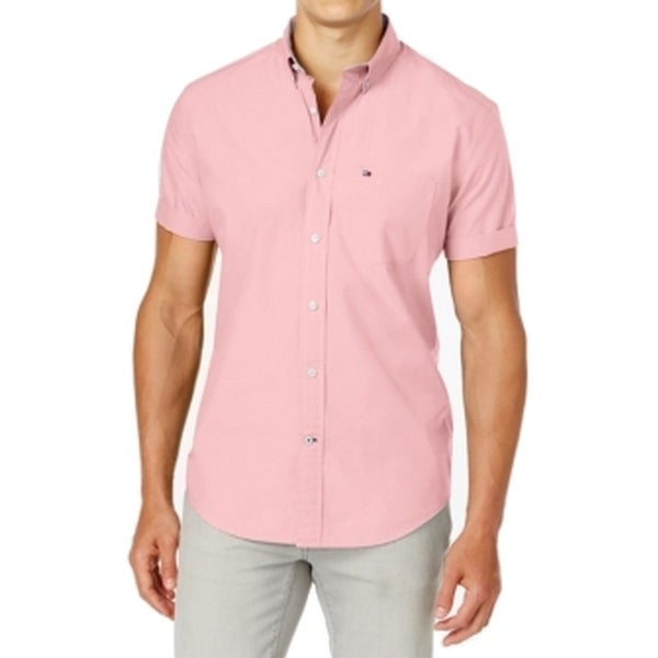 398d98d8 Shop Tommy Hilfiger NEW Pink Mens Size 2XL Oxford Button Down Cotton Shirt  - Free Shipping On Orders Over $45 - Overstock - 21394413