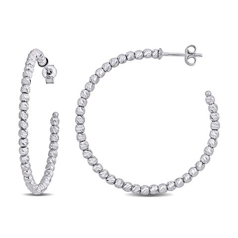 Miadora 18k White Gold Diamond-cut Beaded Hoop Earrings