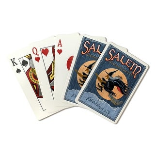 Salem, Massachusetts Witch Vintage Sign LP Artwork (Poker Playing Cards Deck)