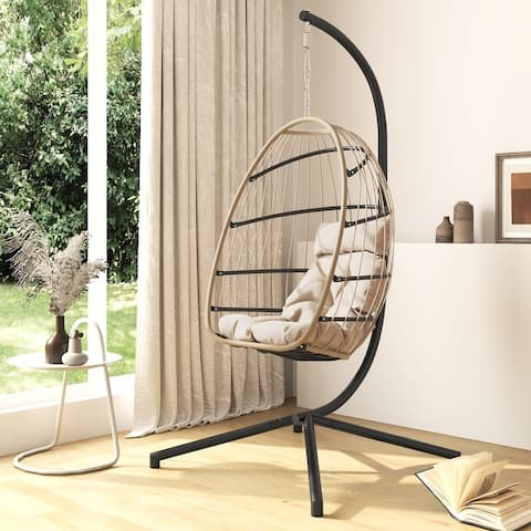 Corvus Outdoor Wicker Egg Swing Hanging Basket Chair with Cushion