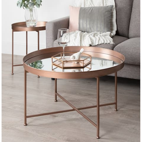 Kate and Laurel Celia Round Mirrored Coffee Table - 28.25x28.25x19