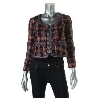 Rachel Rachel Roy Womens Tweed Contrast Trim Crop Blazer - 6