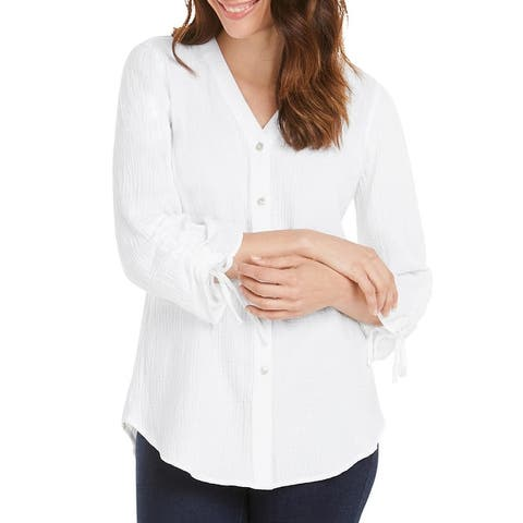 Foxcroft NYC Womens Marley Button-Down Top Cotton Ruched - White