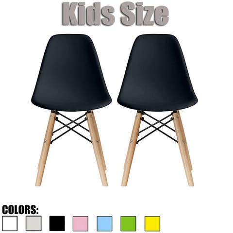 2xhome Set of 2 Black Modern Kids Toddler Size Molded Plastic Armless No Arms Seat for Children's Room Natural Wood Eiffel Legs
