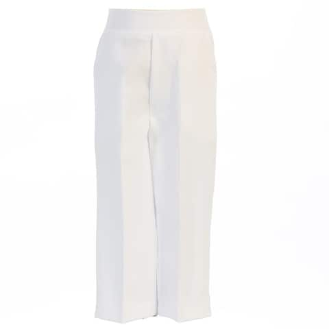 Baby Boys White Elastic Waistband Special Occasion Long Dress Pants 3-24M