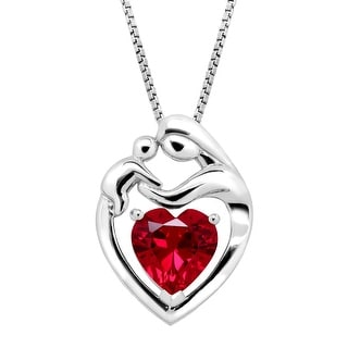 2 1/5 ct Created Ruby Mother & Child Pendant in Sterling Silver - Red
