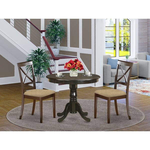 3 Piece Kitchen Set - Round Kitchen Table and 2 Dining Chairs in Cappuccino Finish. Opens flyout.