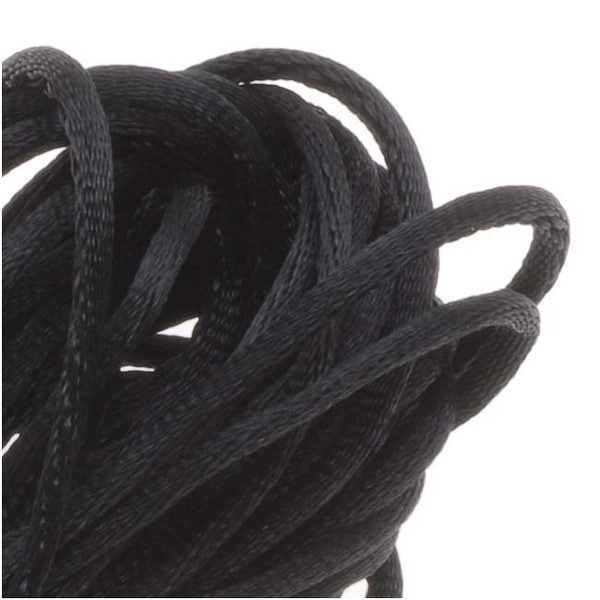 Rayon Satin Rattail 1mm Cord - Knot & Braid - Black (6 Yards)