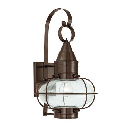 """Norwell Lighting 1512 Classic Onion Single Light 19"""" Tall Outdoor Wall Sconce with Glass Shade"""