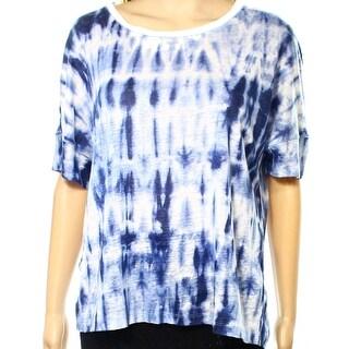 Lauren by Ralph Lauren NEW Blue Women's Size Medium M Tie Dye Knit Top